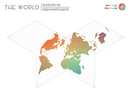 World map with vibrant triangles. Collignon butterfly projection of the world. Spectral colored polygons. Energetic vector illustration.