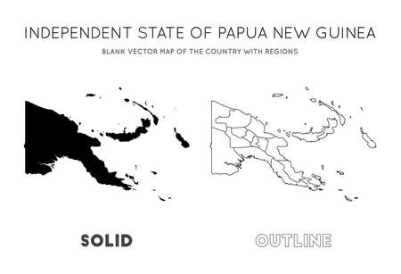 Papua New Guinea map. Blank vector map of the Country with regions. Borders of Papua New Guinea for your infographic. Vector illustration.