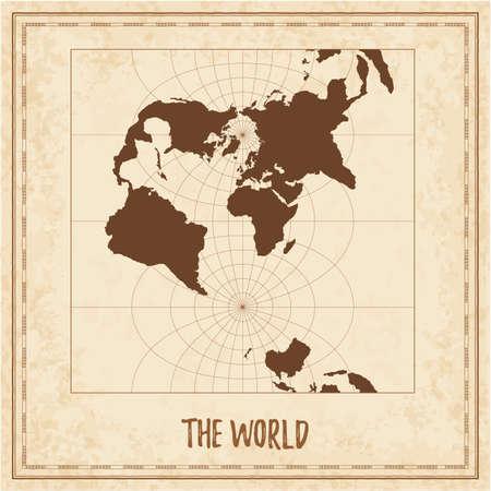 Old world map. Transverse spherical Mercator projection. Medieval style treasure map. Ancient land navigation atlas. Vector illustration.