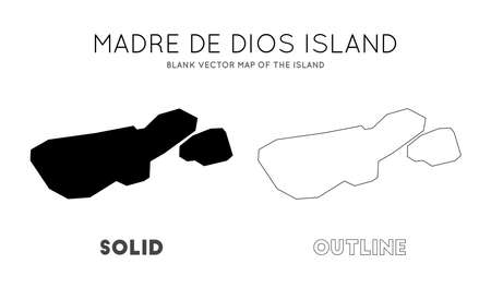 Madre de Dios Island map. Blank vector map of the Island. Borders of Madre de Dios Island for your infographic. Vector illustration.