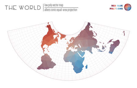 World map in polygonal style. Albers conic equal-area projection of the world. Red Blue colored polygons. Elegant vector illustration.