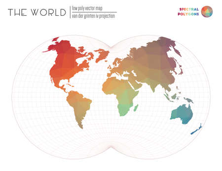 Low poly design of the world. Van der Grinten IV projection of the world. Spectral colored polygons. Modern vector illustration.