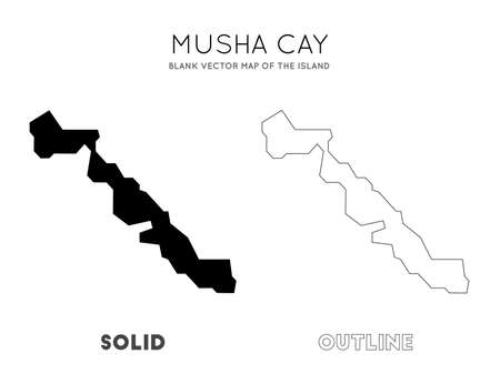 Musha Cay map. Blank vector map of the Island. Borders of Musha Cay for your infographic. Vector illustration.