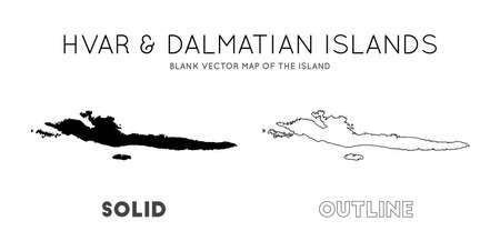 Hvar & Dalmatian Islands map. Blank vector map of the Island. Borders of Hvar & Dalmatian Islands for your infographic. Vector illustration. Ilustração