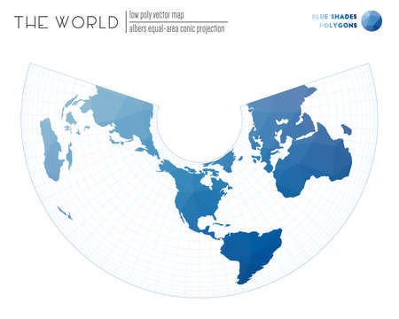 World map with vibrant triangles. Albers equal-area conic projection of the world. Blue Shades colored polygons. Awesome vector illustration.
