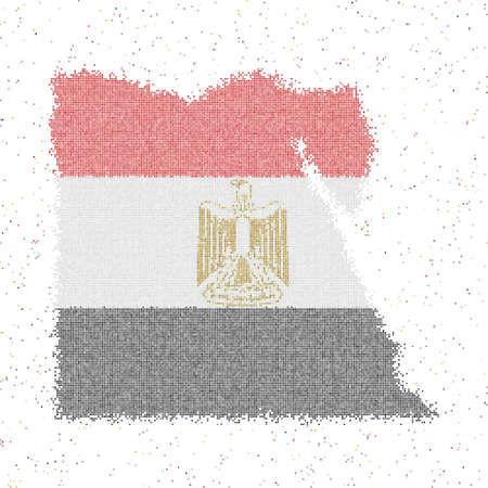 Map of Egypt. Mosaic style map with flag of Egypt. Vector illustration. 向量圖像