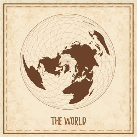 Old world map. Wiechel projection. Medieval style treasure map. Ancient land navigation atlas. Vector illustration.
