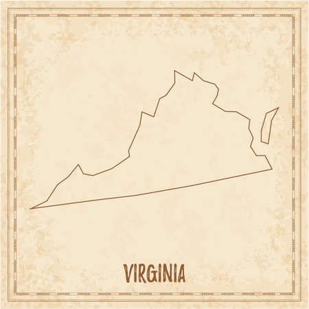 Pirate map of Virginia. Blank vector map of the Us State. Vector illustration. 向量圖像