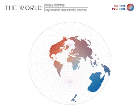 Abstract world map. Airys minimum-error azimuthal projection of the world. Red Blue colored polygons. Neat vector illustration.