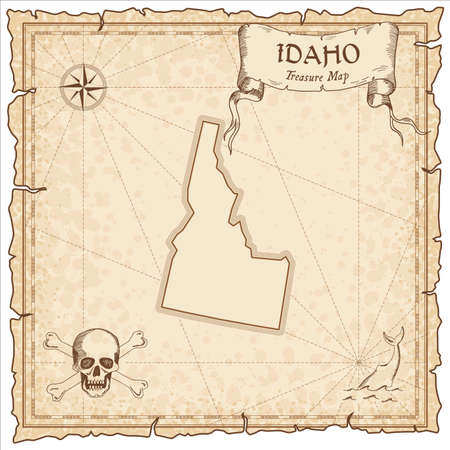 Idaho pirate map. Ancient style map template. Old us state borders. Vector illustration.