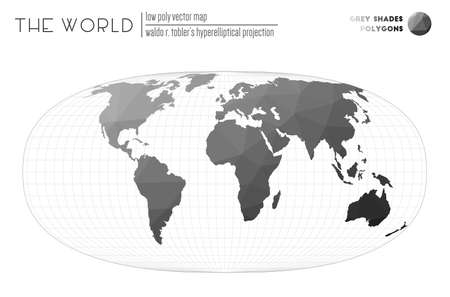 Abstract geometric world map. Waldo R. Tobler's hyperelliptical projection of the world. Grey Shades colored polygons. Energetic vector illustration.