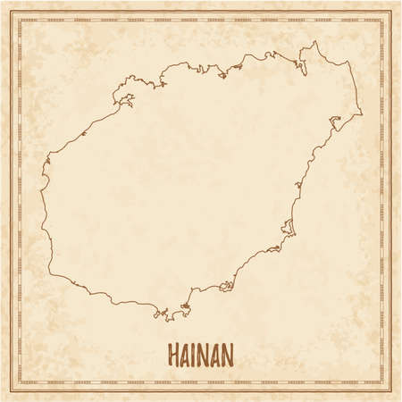 Pirate map of Hainan. Blank vector map of the Island. Vector illustration.  イラスト・ベクター素材