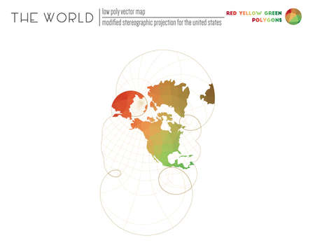 Polygonal world map. Modified stereographic projection for the United States of the world. Red Yellow Green colored polygons. Modern vector illustration.