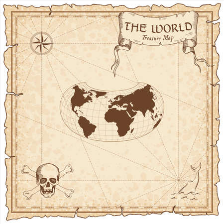 World treasure map. Pirate navigation atlas. Armadillo projection. Old map vector. 写真素材 - 131423156