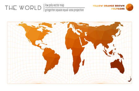 Vector map of the world. Gringorten square equal-area projection of the world. Yellow Orange Brown colored polygons. Contemporary vector illustration. 일러스트