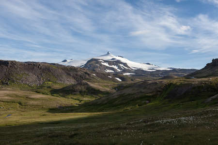 Icelandic landscape. Snaefellsjokull volcano in Iceland. Snaefellsnes national park. 写真素材 - 131423159