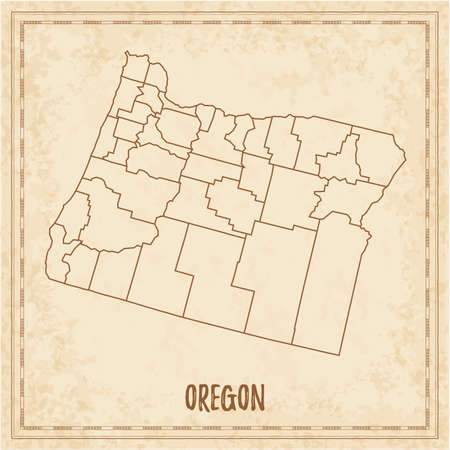 Pirate map of Oregon. Blank vector map of the Us State with counties. Vector illustration.
