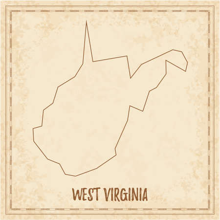 Pirate map of West Virginia. Blank vector map of the Us State. Vector illustration.