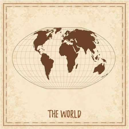 Old world map. McBryde-Thomas flat-polar quartic pseudocylindrical equal-area projection. Medieval style treasure map. Ancient land navigation atlas. Vector illustration.