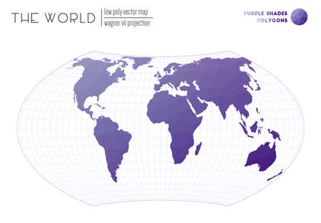 Triangular mesh of the world. Wagner VII projection of the world. Purple Shades colored polygons. Awesome vector illustration.