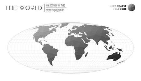 Vector map of the world. Bromley projection of the world. Grey Shades colored polygons. Creative vector illustration.
