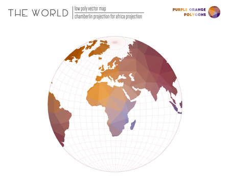 Vector map of the world. Chamberlin projection for Africa projection of the world. Purple Orange colored polygons. Awesome vector illustration.  イラスト・ベクター素材