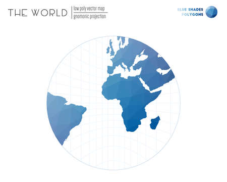Polygonal world map. Gnomonic projection of the world. Blue Shades colored polygons. Contemporary vector illustration.