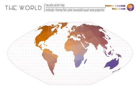 Triangular mesh of the world. McBryde-Thomas flat-polar sinusoidal equal-area projection of the world. Purple Orange colored polygons. Creative vector illustration.