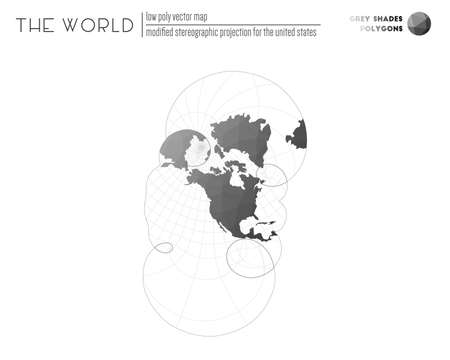 Low poly world map. Modified stereographic projection for the United States of the world. Grey Shades colored polygons. Trending vector illustration.