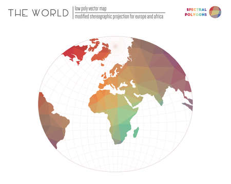Triangular mesh of the world. Modified stereographic projection for Europe and Africa of the world. Spectral colored polygons. Contemporary vector illustration. Stok Fotoğraf - 131400782