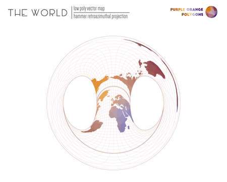 Polygonal world map. Hammer retroazimuthal projection of the world. Purple Orange colored polygons. Amazing vector illustration.