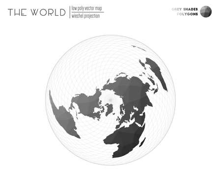World map in polygonal style. Wiechel projection of the world. Grey Shades colored polygons. Creative vector illustration.