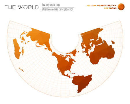 Polygonal world map. Albers equal-area conic projection of the world. Yellow Orange Brown colored polygons. Modern vector illustration.  イラスト・ベクター素材