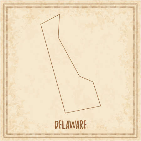 Pirate map of Delaware. Blank vector map of the Us State. Vector illustration.