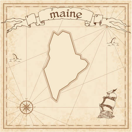Maine treasure map. Ancient style map template. Old us state borders. Vector illustration.
