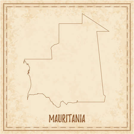 Pirate map of Mauritania. Blank vector map of the Country. Vector illustration.  イラスト・ベクター素材