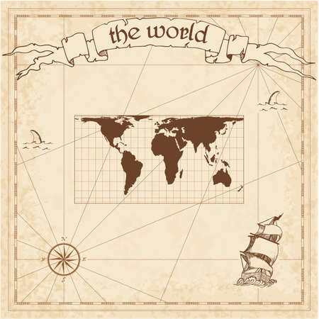 World pirate map. Ancient style navigation atlas. Cylindrical equal-area projection. Old map vector.  イラスト・ベクター素材