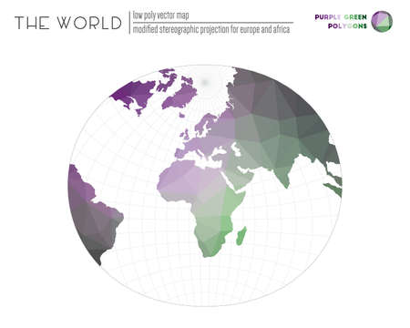 Abstract world map. Modified stereographic projection for Europe and Africa of the world. Purple Green colored polygons. Amazing vector illustration.  イラスト・ベクター素材
