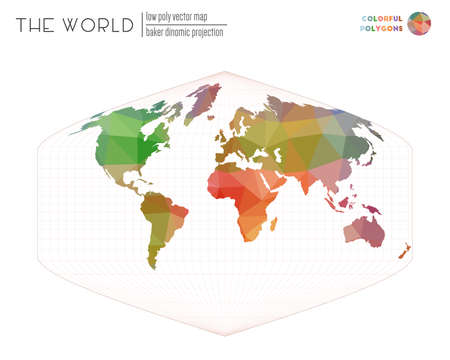 Abstract geometric world map. Baker Dinomic projection of the world. Colorful colored polygons. Awesome vector illustration.