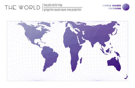 Vector map of the world. Gringorten square equal-area projection of the world. Purple Shades colored polygons. Stylish vector illustration.  イラスト・ベクター素材