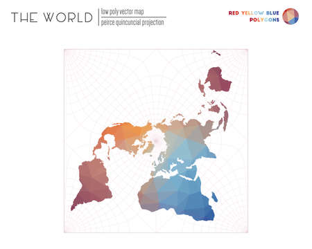 Polygonal world map. Peirce quincuncial projection of the world. Red Yellow Blue colored polygons. Modern vector illustration.