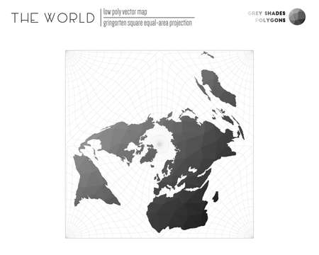 Triangular mesh of the world. Gringorten square equal-area projection of the world. Grey Shades colored polygons. Awesome vector illustration.