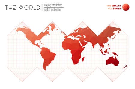 World map with vibrant triangles. HEALPix projection of the world. Red Shades colored polygons. Beautiful vector illustration. Illustration