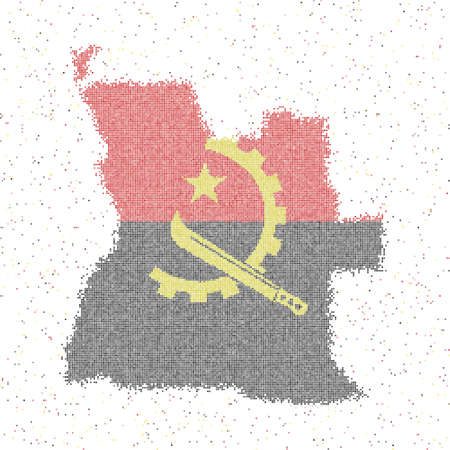 Map of Angola. Mosaic style map with flag of Angola. Vector illustration.  イラスト・ベクター素材