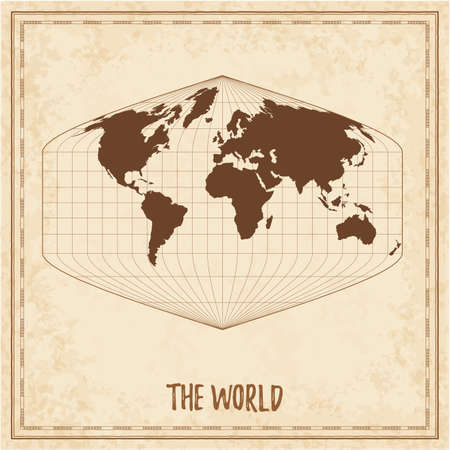 Old world map. Baker Dinomic projection. Medieval style treasure map. Ancient land navigation atlas. Vector illustration.  イラスト・ベクター素材