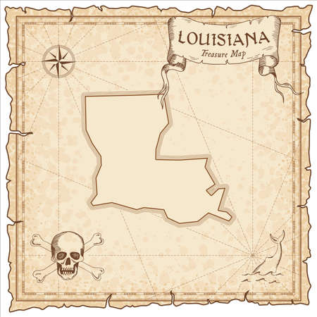 Louisiana pirate map. Ancient style map template. Old us state borders. Vector illustration.