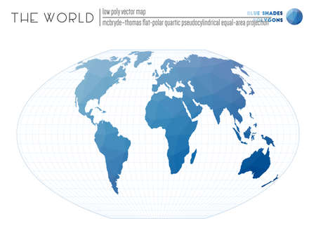 World map with vibrant triangles. McBryde-Thomas flat-polar quartic pseudocylindrical equal-area projection of the world. Blue Shades colored polygons. Creative vector illustration.