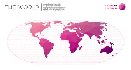 Low poly world map. Nell-Hammer projection of the world. Red Purple colored polygons. Creative vector illustration.