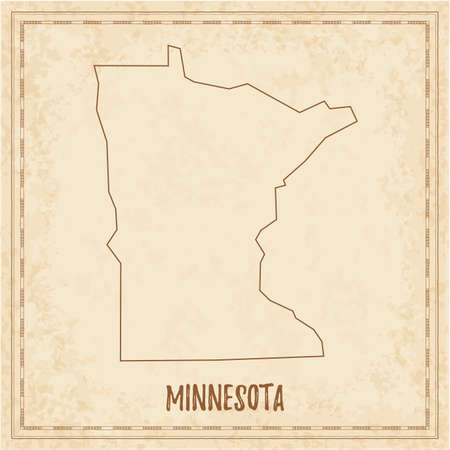 Pirate map of Minnesota. Blank vector map of the Us State. Vector illustration.