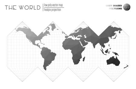 World map with vibrant triangles. HEALPix projection of the world. Grey Shades colored polygons. Creative vector illustration.